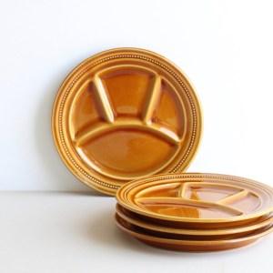 vintage fonduebord okergeel