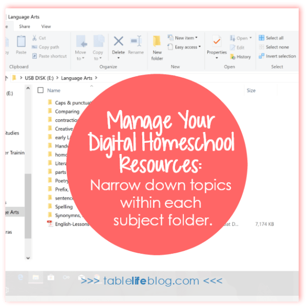 7 Practical Tips for Organizing Your Digital Homeschool Resources - Narrow down within each folder