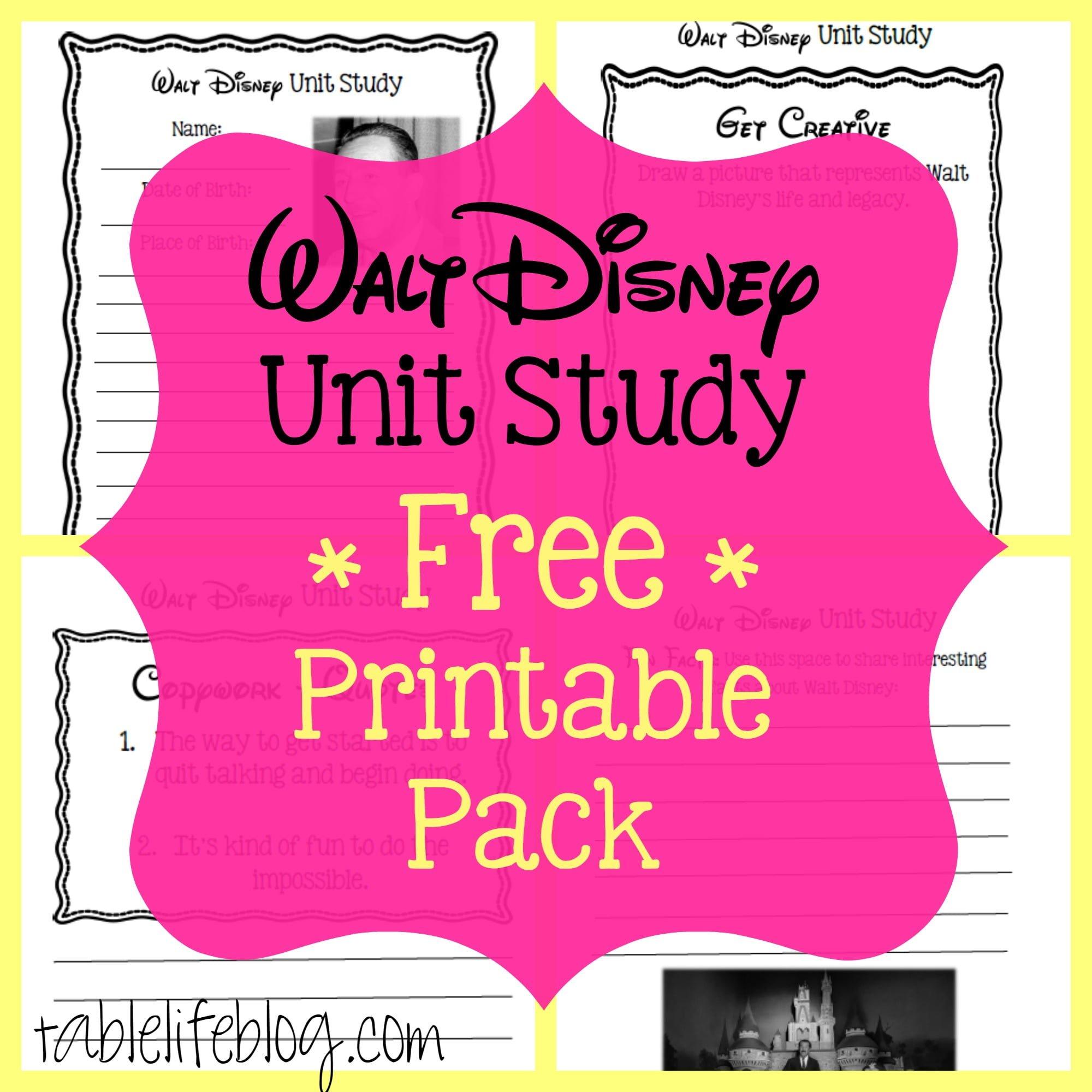 Walt Disney Unit Study With Free Printable
