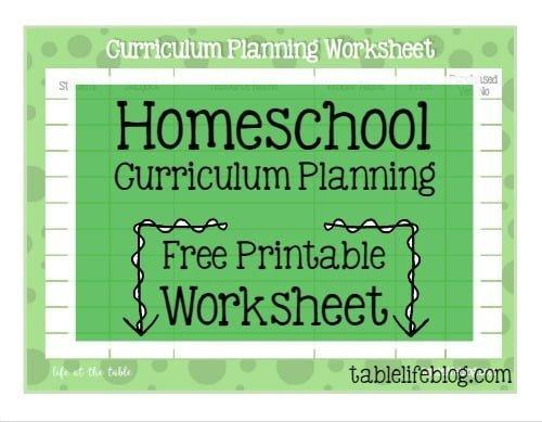 Homeschool Curriculum Planning Printable Worksheet