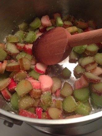 Cooking the rhubarb for the compote