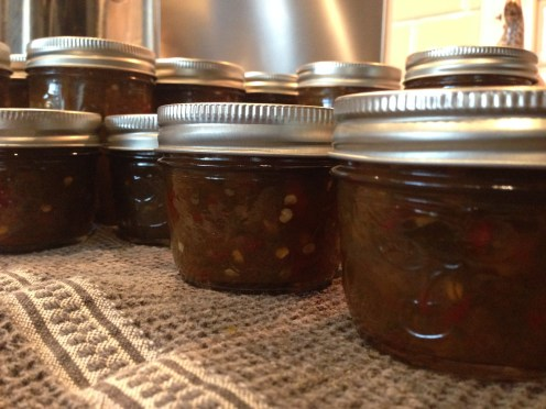 Hot jalapeño jelly ready to go