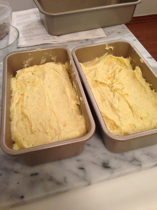 The dough in two 8x4 inch loaf pans