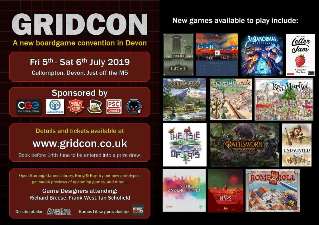 Flyer for Gridcon in Cullompton, Devon, Fri 5th - Sat 6th July 2019