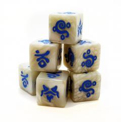White Saga Magic dice with blue symbols