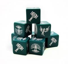 Jade green Saga Order dice with white symbols: A tree, a hawk and a hammer
