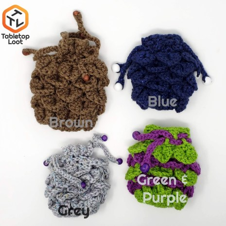 Tabletop Loot _ Crocheted Dragonscale Dice Bag 3-dice-bag -dice-dnd-dice-dd-dice-tabletop-dice-dungeons-and-dragons