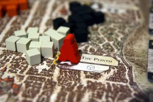 close up of lords of waterdeep board game play
