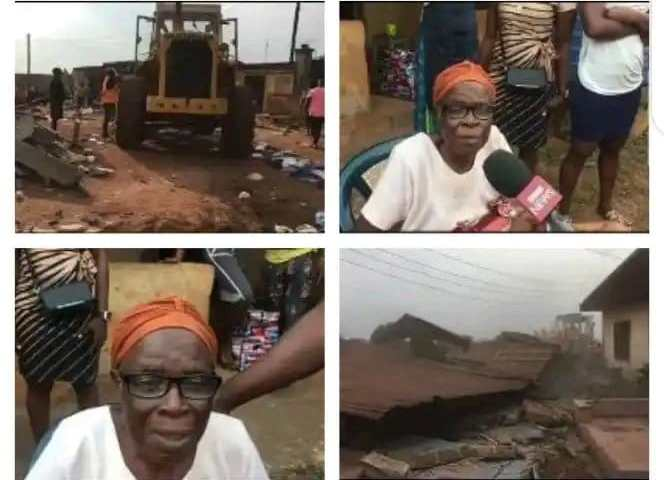 Widow cried out after the demolition of her building in Enugu State