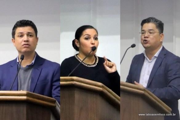 Vereadores Marcos Paulo, Joice Silva e Ronaldo Onishi criticam atuação das polícias militar e civil m Taboão da Serra.