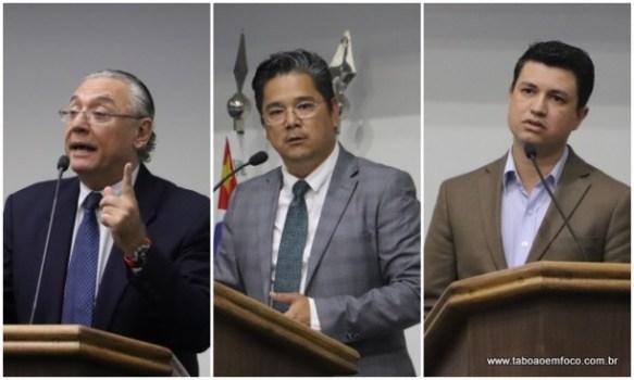 Os vereadores André Egydio, Ronaldo Onishi e Marcos Paulo disputam a eleição da presidência da Câmara de Taboão da Serra, que teve a eleição antecipada.