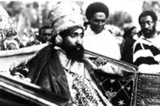 Haile Selassie 1st in open carriage