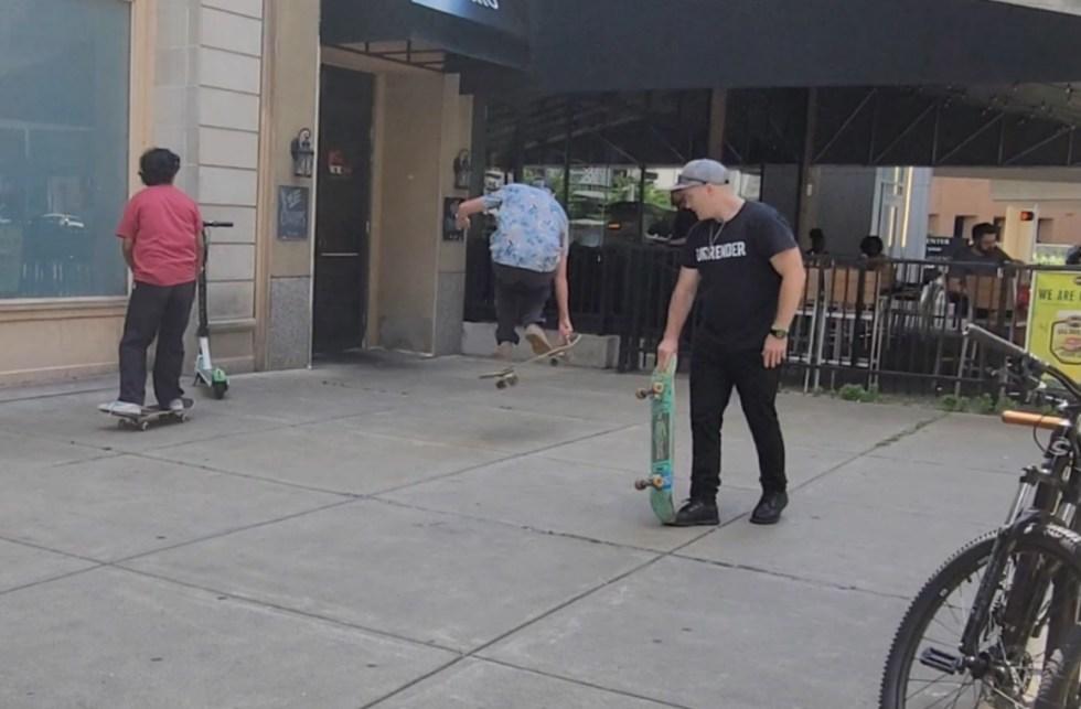 three generations of skateboarders