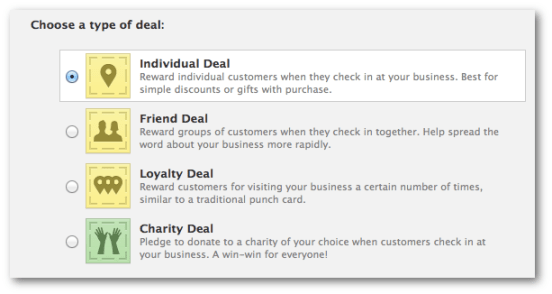 Check In Offer Deal Types as Shown in Page Admin