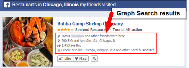 Graph Search result with check-ins of friends listed.