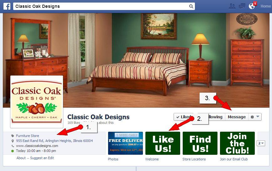 Facebook Page Tune Ups, Classic Oak Furniture Illinois