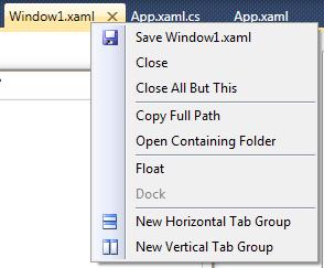 VS10 context menu for document tab
