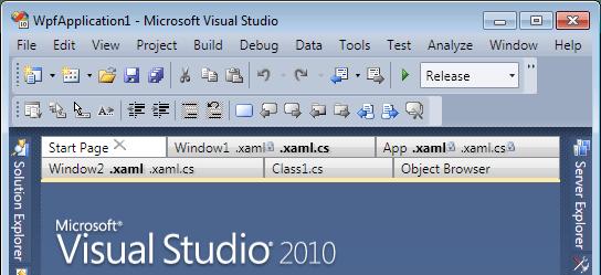 Multiple rows of tabs in Visual Studio 2010 Beta 1