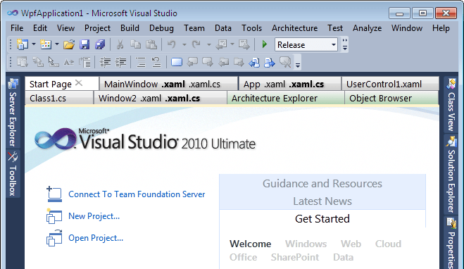 Tabs Studio in Visual Studio 2010 Beta 2
