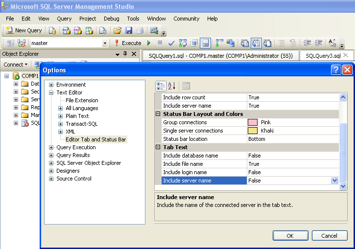 Tab text options in SSMS 2008