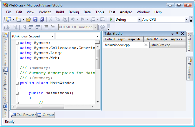 Tabs window on the right of code window