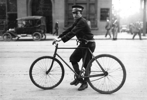 A typical Birmingham, Alabama, bicycle messenger, in October of 1914.