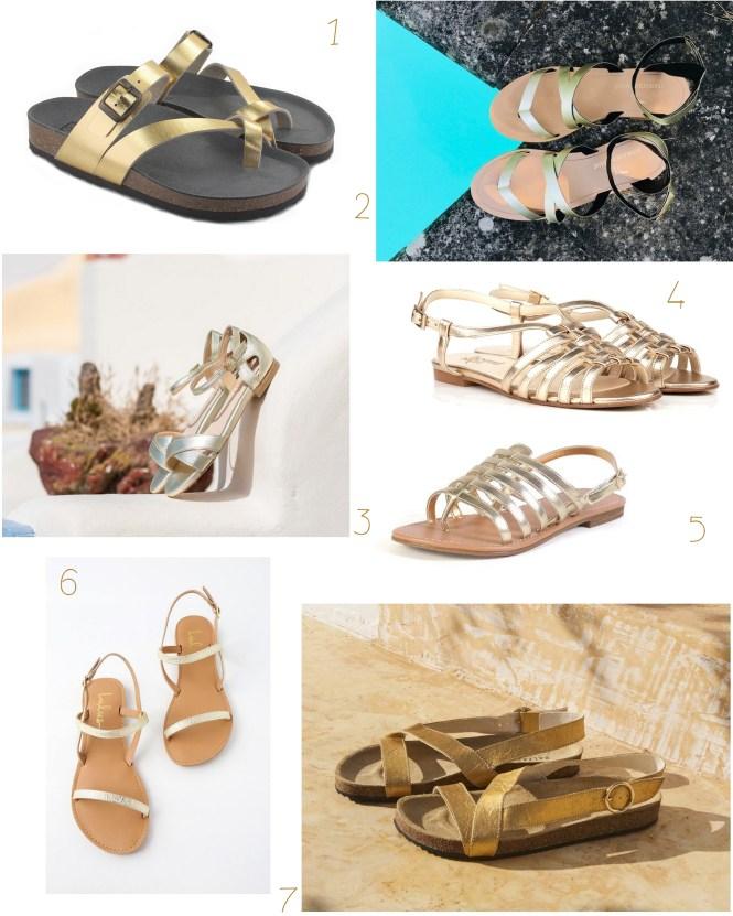 Sélection de sandales plates dorées vegan pour l'été