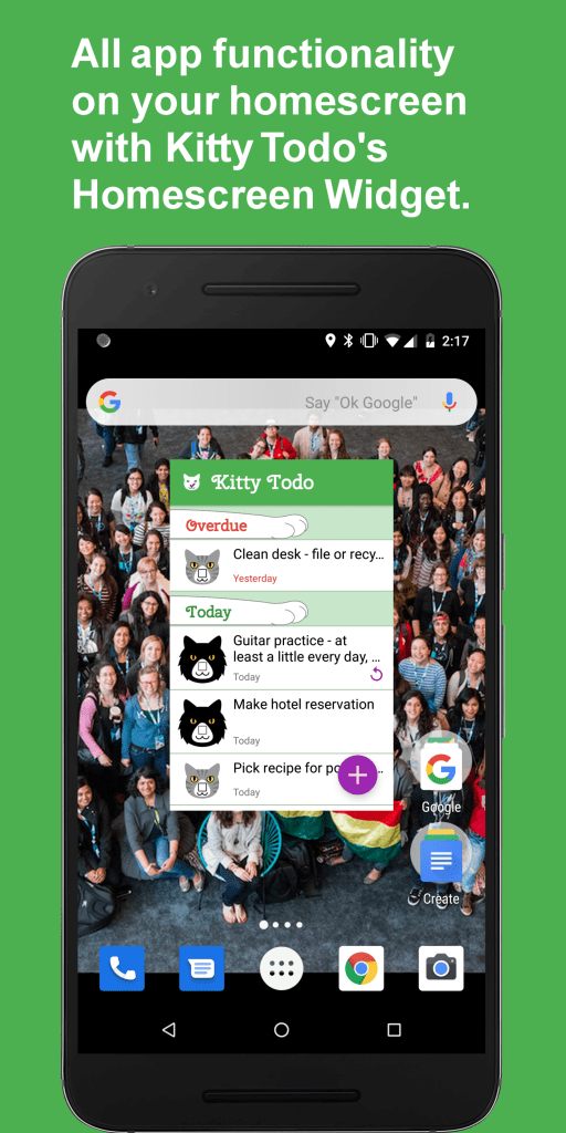 All app functionality on your homescreen with Kitty Todo's homescreen widget