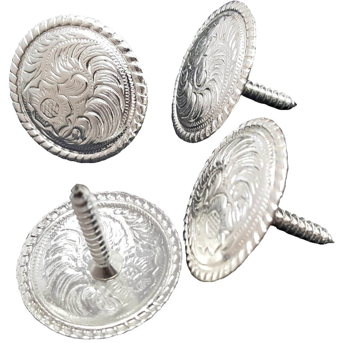 WESTERN HORSE HEADSTALL SADDLE TACK BRIGHT SILVER CONCHO 1 inch screw back