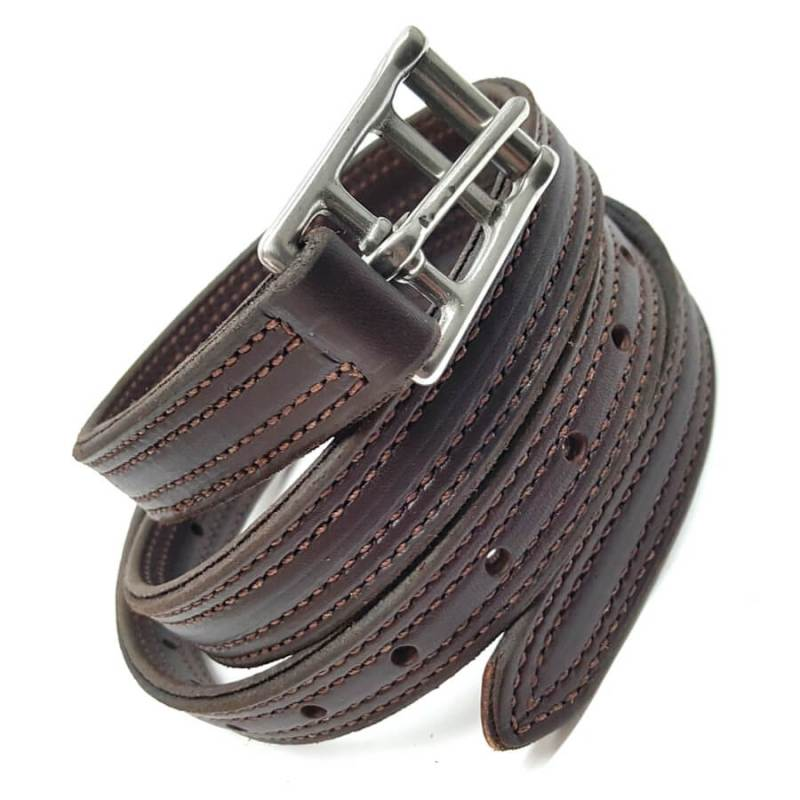 triple ply premium english saddle leathers double stitched close up by hill saddlery