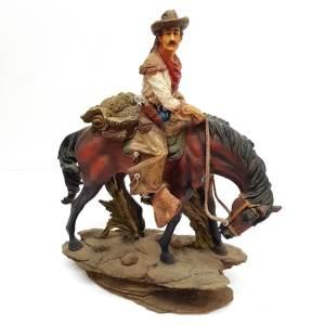"""Vintage Wild Bill Cowboy Horse Statue Folk Americana 12"""" H X 10"""" W Hill Saddlery"""