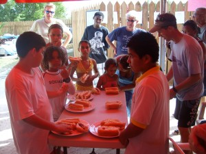 Kids hotdog eating contest