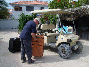 Tommy organizing Luggage