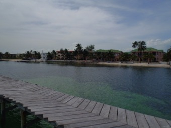 view from banyan bay dock of  grand colony belize, banana beach resort, mata rocks, the palms