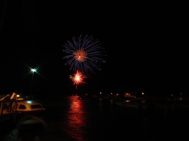 fireworks show on the water in downtown san pedro