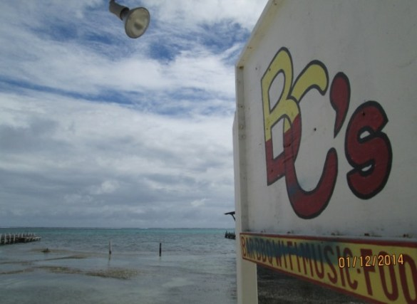 caribbean sea view from bc's beach bar belize