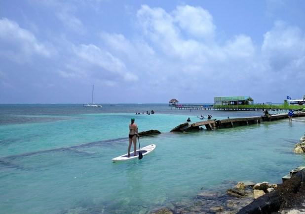 Paddelboarding at the split on Caye Caulker