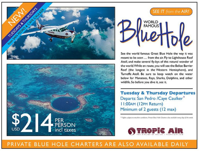 Belize Airline Blue Hole Tour