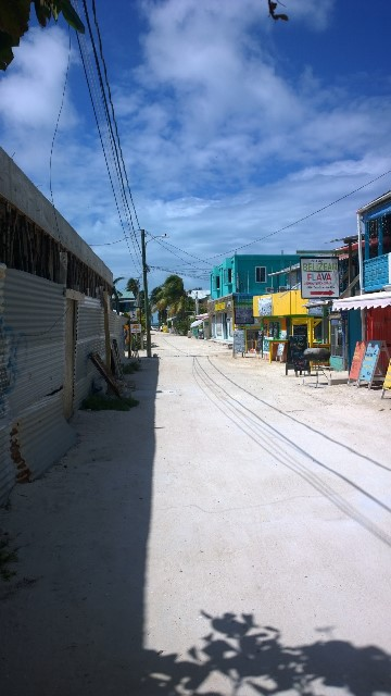 Walking down the street on Caye Caulker
