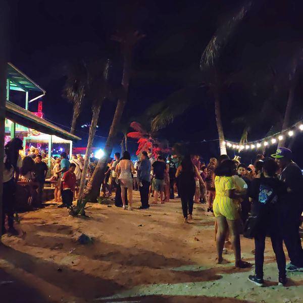 Crowded beach NYE Ambergris Caye