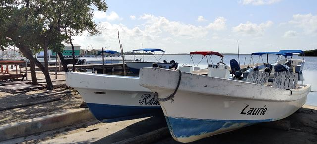 Boats docked during covid-19 in Belize