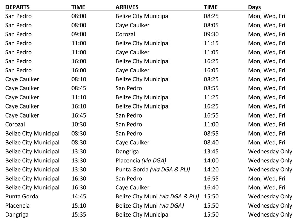 Tropic Air Passenger Schedule-05-11-2020