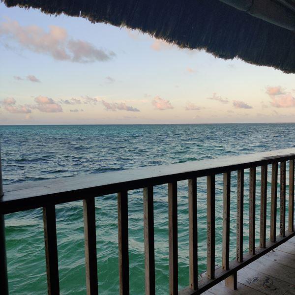 sunset caribbean sea view palapa bar belize