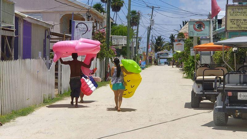 belizean kids on sandy street caye caulker