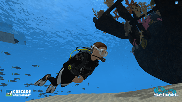 Diver in Infinite Scuba virtual reality.