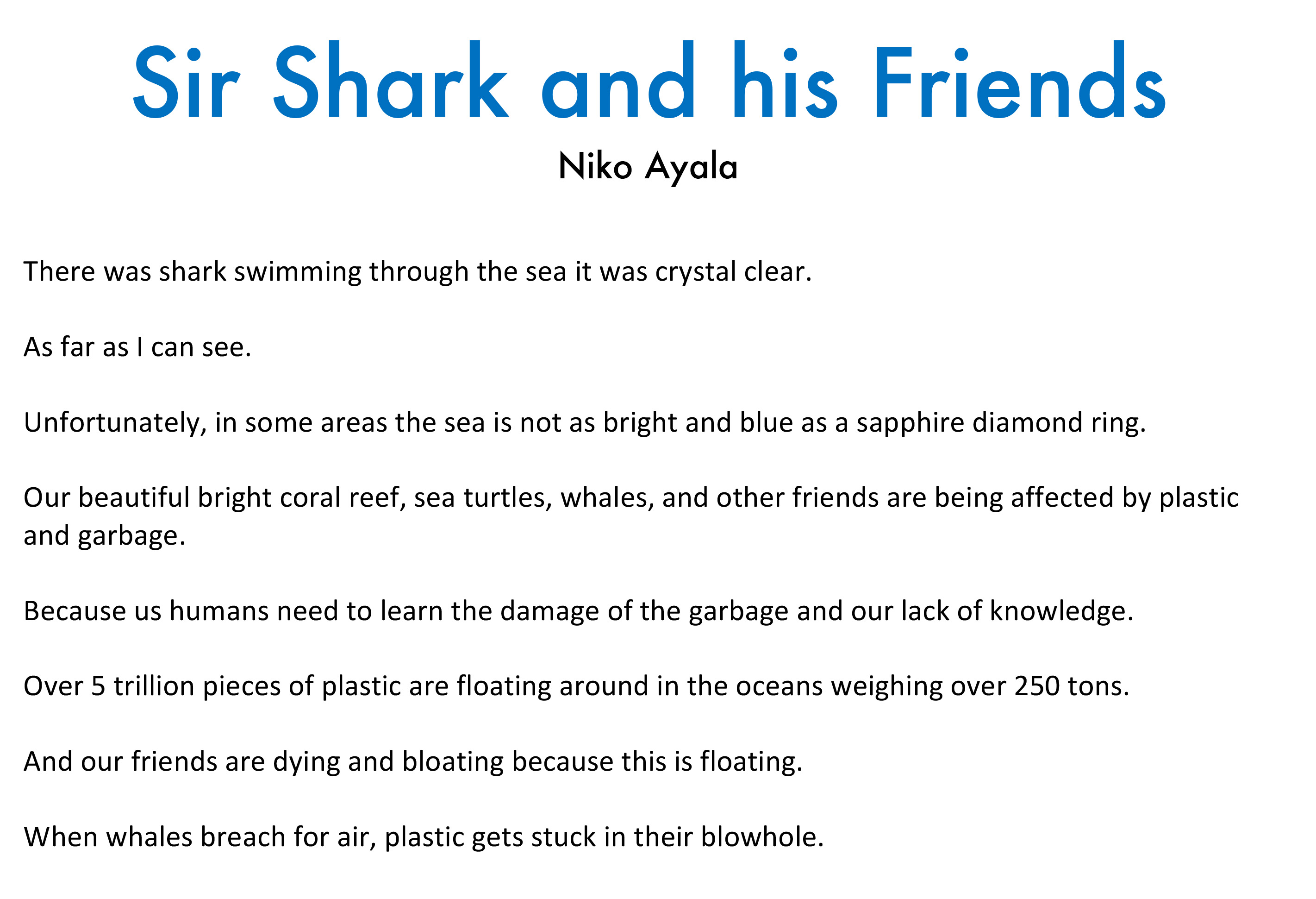 Niko Ayala - Sir Shark and  his Friends