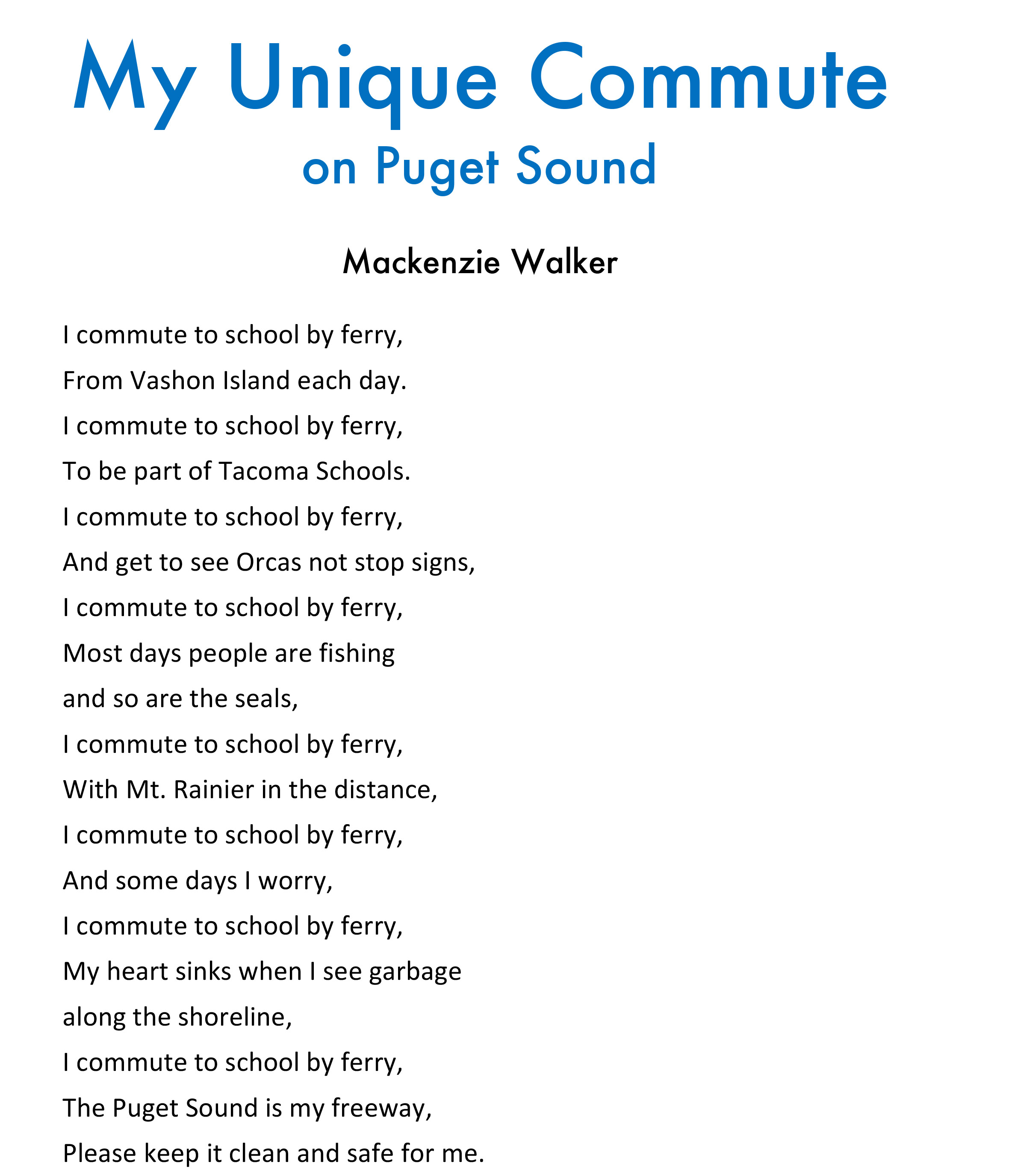 Mackenzie Walker - My Unique Commute