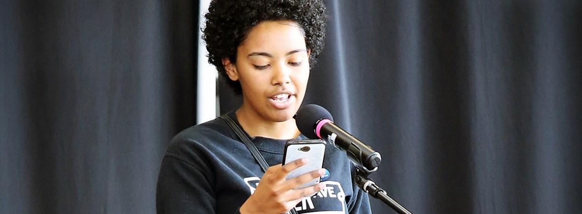 girl reading poem