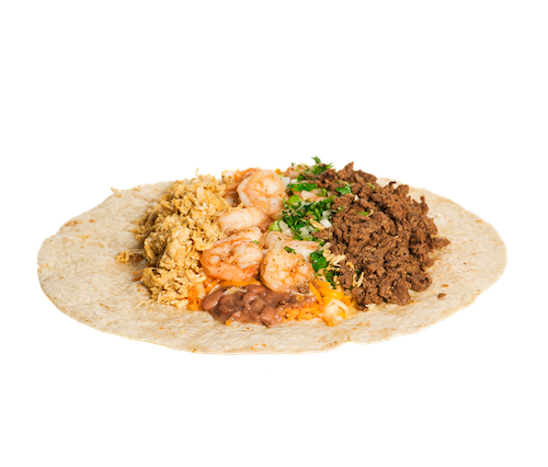 The World Famous Three Meat Burrito. Chicken, Steak and Shrimp.