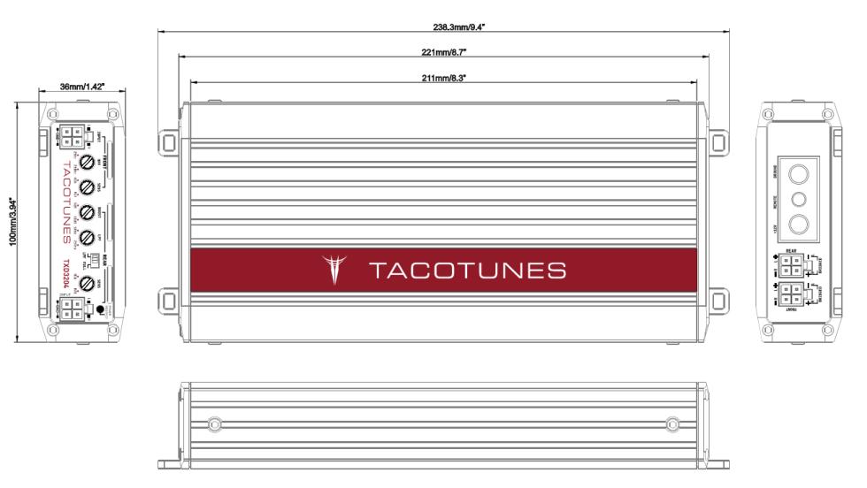 tacotunes TXD3204 dimensions